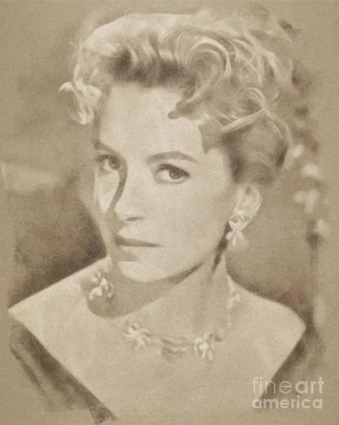 Pinewood Drawing - Deborah Kerr, Vintage Actress. Digital Art By John Springfield by John Springfield