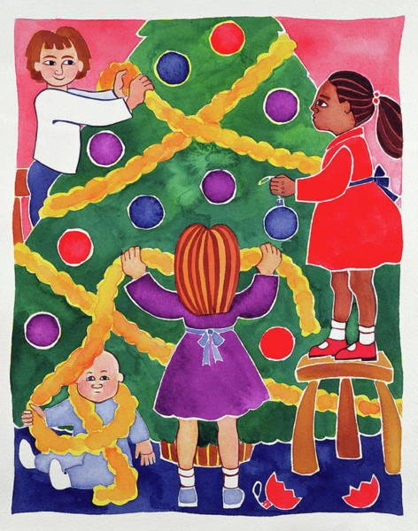 Trimming Painting - Decorating The Christmas Tree by Cathy Baxter