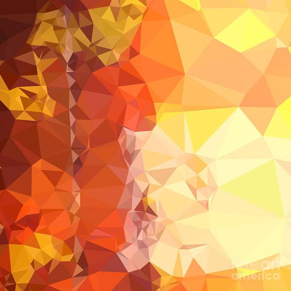 Saffron Digital Art - Deep Saffron Orange Abstract Low Polygon Background by Aloysius Patrimonio