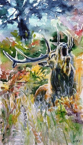 Wild Life Painting - Deer by Kovacs Anna Brigitta