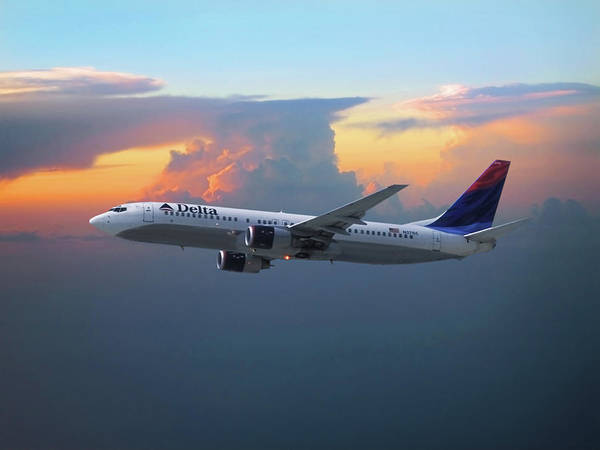 Delta Mixed Media - Delta Air Lines Boeing 737 by Erik Simonsen