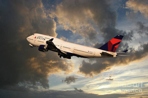 Delta Air Lines Wall Art - Digital Art - Delta Airlines Boeing 747 by J Biggadike