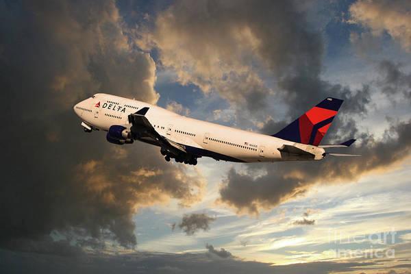 Wall Art - Digital Art - Delta Airlines Boeing 747 by J Biggadike