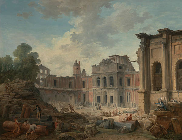 Demolition Wall Art - Painting - Demolition Of The Chateau Of Meudon by Hubert Robert