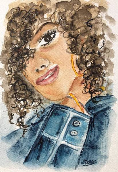 Wall Art - Painting - Denim Girl With Curls by Elaine Duras