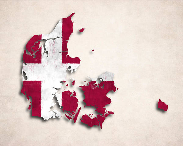 Wall Art - Digital Art - Denmark Map Art With Flag Design by World Art Prints And Designs