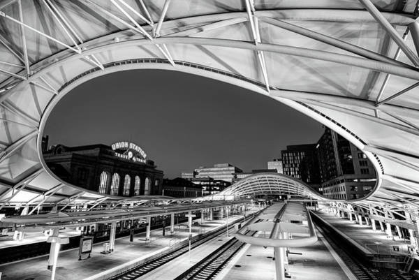Photograph - Denver Union Station - 1914 Beaux-arts Train Station - Black And White by Gregory Ballos