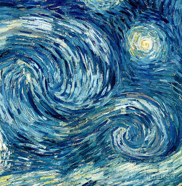 Post-impressionist Painting - Detail Of The Starry Night by Vincent Van Gogh