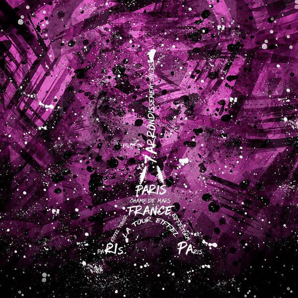 Contour Digital Art - Digital Art Eiffel Tower - Pink by Melanie Viola