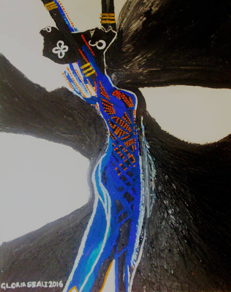 Dinka People Painting - Dinka In Blue - South Sudan by Gloria Ssali