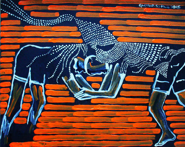 Painting - Dinka Wrestling - South Sudan by Gloria Ssali