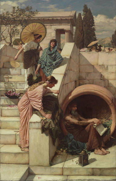 Pre-raphaelite Painting - Diogenes by John William Waterhouse