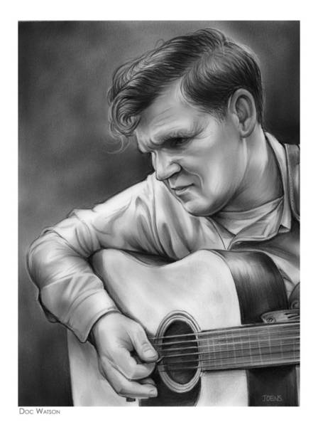 Guitarist Wall Art - Drawing - Doc Watson by Greg Joens