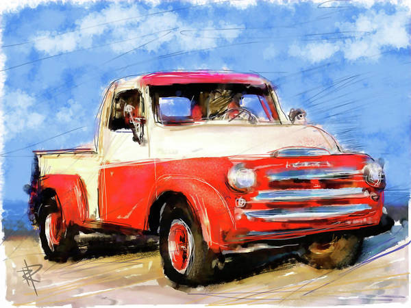 Pen And Ink Mixed Media - Dodge Truck by Russell Pierce