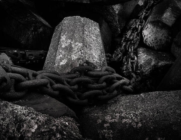 Wall Art - Photograph - Dolosse And Chains Black And White by TL Mair