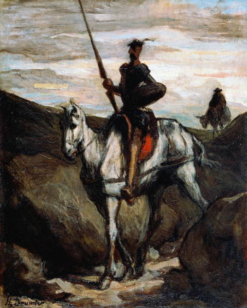 Castilla Painting - Don Quixote In The Mountains by Honore Daumier