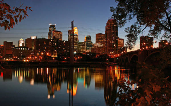 Mississippi River Photograph - Downtown Minneapolis At Night by Angie Schutt