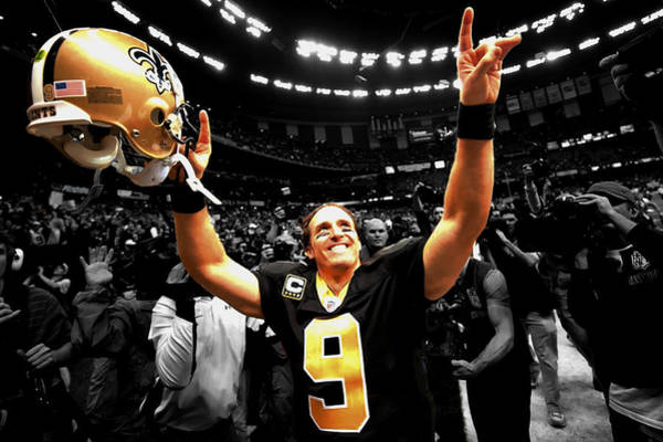 Wall Art - Mixed Media - Drew Brees by Brian Reaves