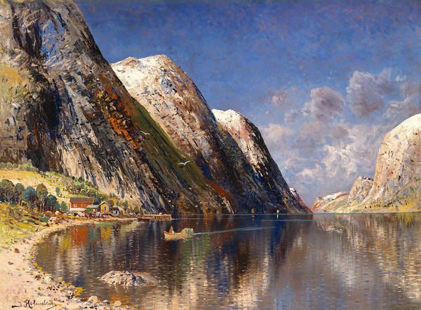 Snow Bank Painting - Drontheim Fjord by Mountain Dreams