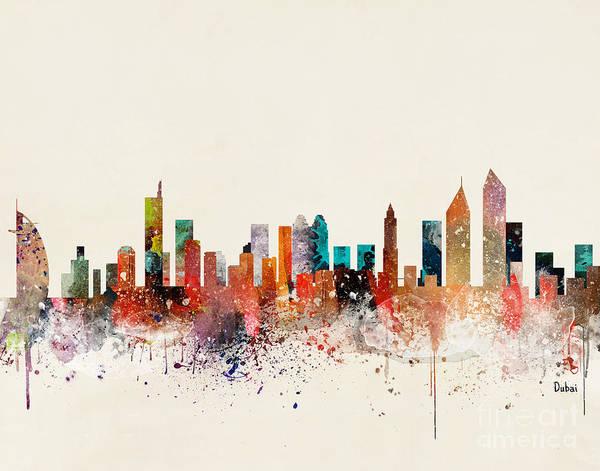 Wall Art - Painting - Dubai Skyline by Bri Buckley