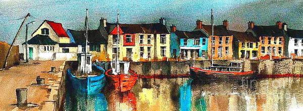 Painting - Dublin ... Skerries Harbour by Val Byrne
