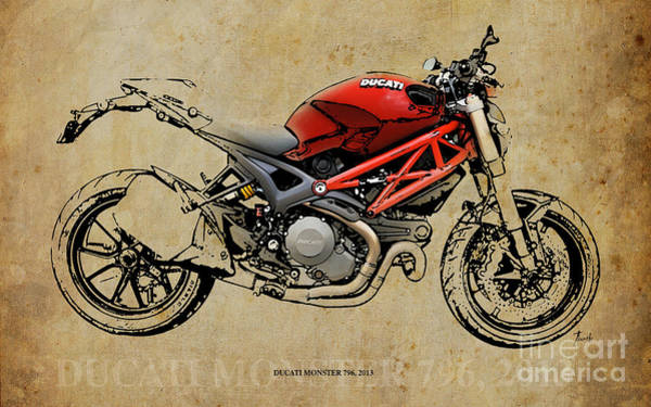 Father Digital Art - Ducati Monster 796 2013 by Drawspots Illustrations