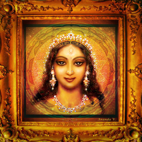 Wall Art - Mixed Media - Durga In The Sri Yantra  by Ananda Vdovic