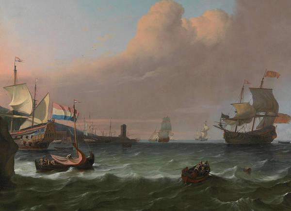 Ocean Scape Painting - Dutch Men-of-war Entering A Mediterranean Port by Ludolf Bakhuizen