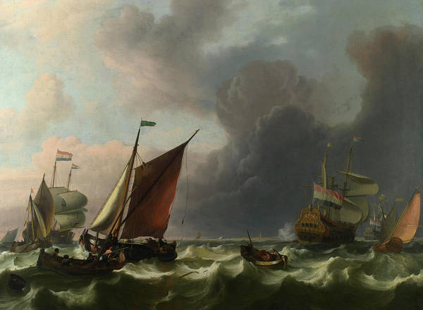 Gloomy Painting - Dutch Men-of-war Off Enkhuizen by Ludolf Bakhuizen