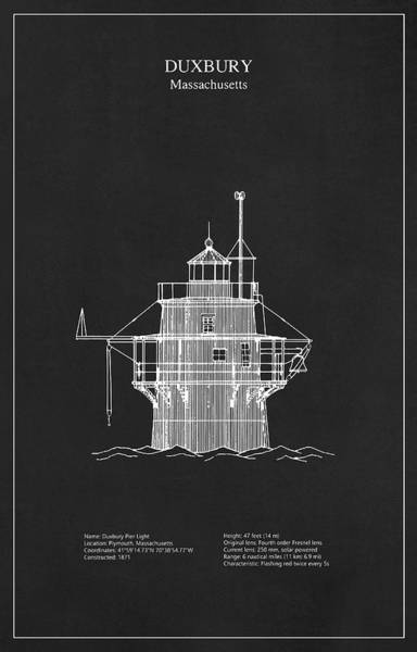 Historic House Digital Art - Duxbury Lighthouse - Massachusetts - Blueprint Drawing by JESP Art and Decor