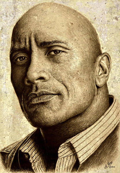 Douglas Drawing - Dwayne The Rock Johnson by Andrew Read