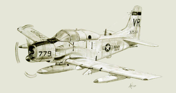 Vietnam Drawing - Ea-1f On Patrol by Nicholas Linehan