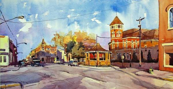 Courthouse Painting - Early Morning Downtown Fairfield by Spencer Meagher