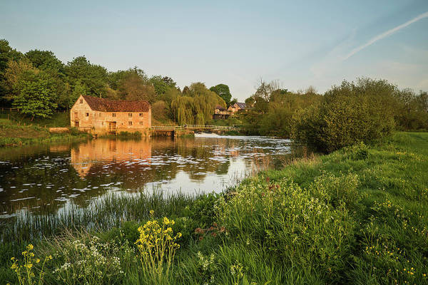 Sturminster Newton Photograph - Early Morning Landscape Across River To Old Water Mill  by Matthew Gibson