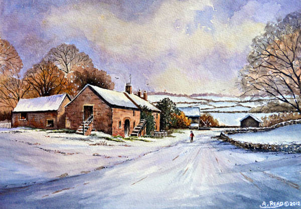 Barn Snow Painting - Early Morning Snow by Andrew Read
