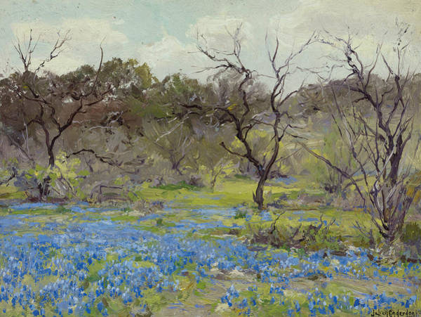 Painting - Early Spring - Bluebonnets And Mesquite by Julian Onderdonk