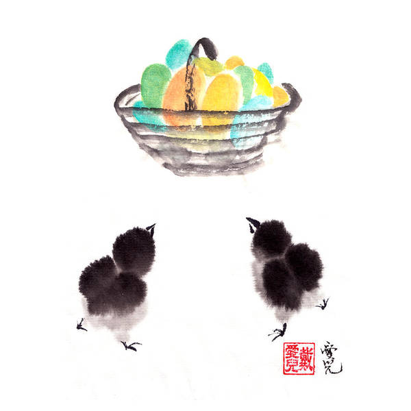 Painting - Easter Chicks by Oiyee At Oystudio