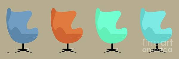 Digital Art - Egg Chairs by Donna Mibus
