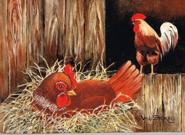 Painting - Eggspecting by Val Stokes