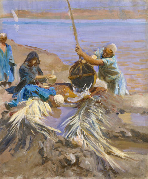 Nile Painting - Egyptians Raising Water From The Nile by John Singer Sargent