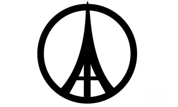 Digital Art - Eiffel Tower Peace Symbols by Benny Marty