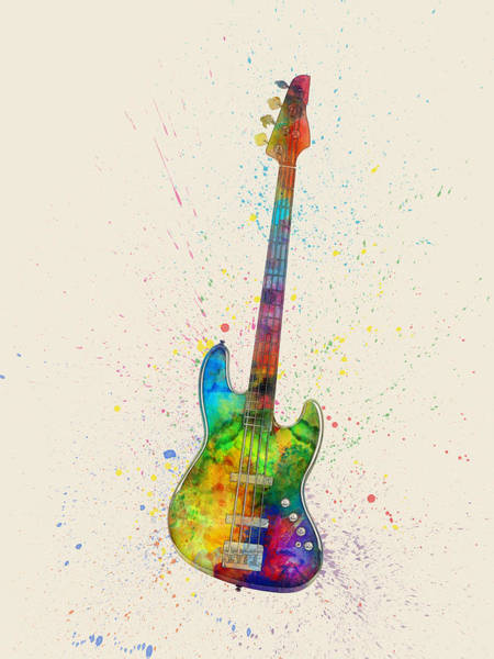Fish Digital Art - Electric Bass Guitar Abstract Watercolor by Michael Tompsett