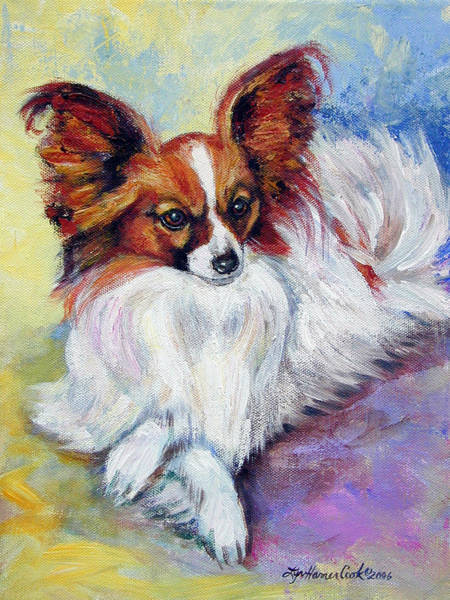 Wall Art - Painting - Elegance - Papillon Dog by Lyn Cook