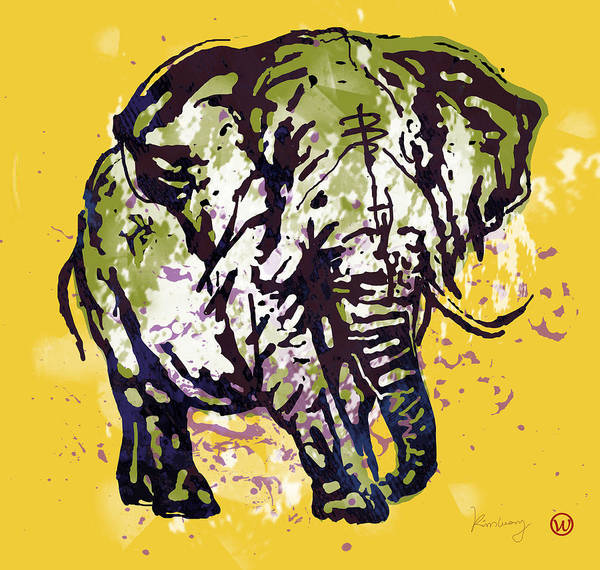 Carnivorous Drawing - Elehpant Pop Art Etching Poster  by Kim Wang