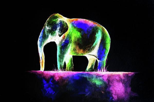 Blacklight Painting - Elephant  by Jessica Deveau