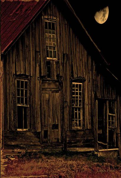 Photograph - Elora Shacks Moon by Lesa Fine