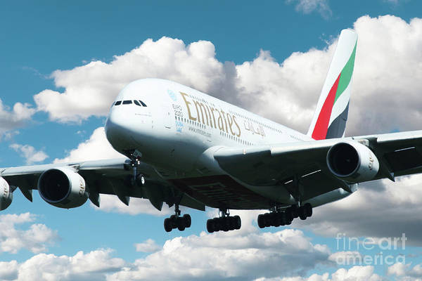 Airbus A380 Wall Art - Digital Art - Emirates A380 by J Biggadike