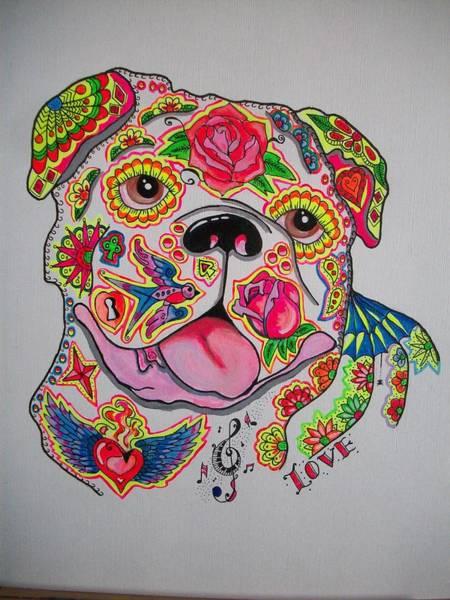 English Bulldog Painting - English Bulldog Sugar Skull / Tattoo Style  by Teresa Hales