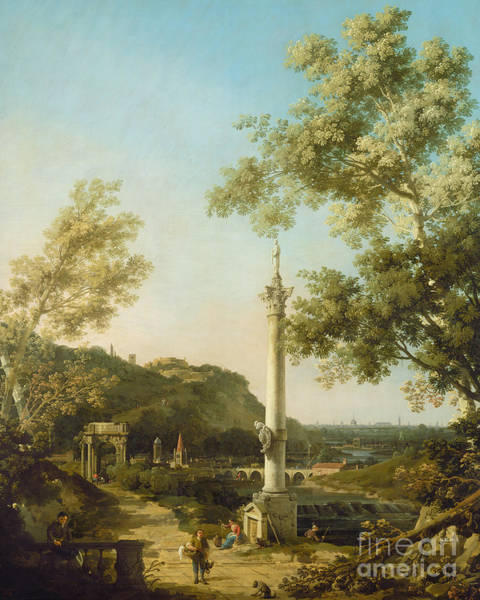 Wall Art - Painting - English Landscape Capriccio With A Column by Canaletto