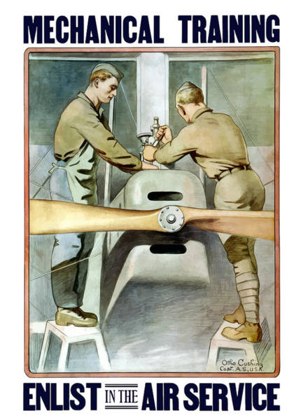 Air War Painting - Mechanical Training - Enlist In The Air Service by War Is Hell Store